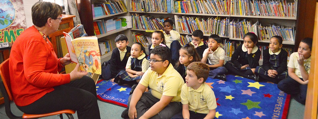 St. Brigid St. Frances Cabrini students library story time